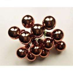 Skleněné kuličky bronzové, lesklé, na drátku, průměr 1,5 cm