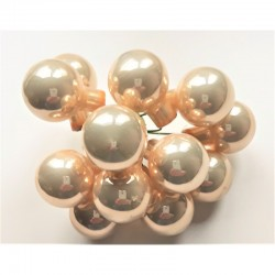 Skleněné kuličky krémové perleťové, lesklé, na drátku, průměr 1,5 cm