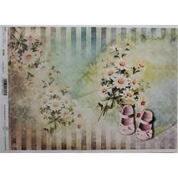 Rýžový papír, A4, Botičky s květinami