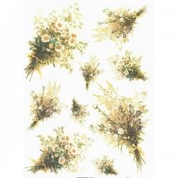 Rýžový papír A4 kopretiny a luční kvítí, kytice 21x29,7 cm