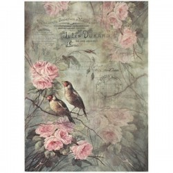 Rýžový papír A4 ptáčci na vetvičce s růžemi růžovými 21x29,7 cm