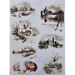 Rýžový papír, Zasněžené vesničky, A4