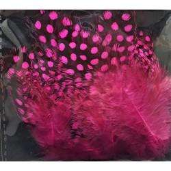 Peří, z perličky, růžové, 24 ks