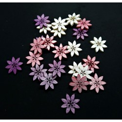 Výřez z překližky, kytičky, mix 3 barev( fialové, růžové, bílé)