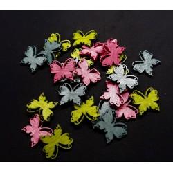 Výřez z překližky, motýlci, mix 3 barev ( modré, zelené, růžové)