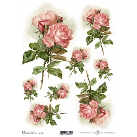 Rýžový papír Růžové růže