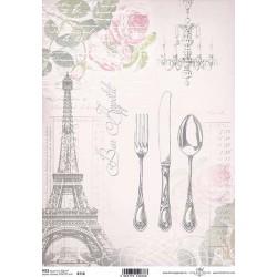 Rýžový papír Eiffelovka, písmo a příbor