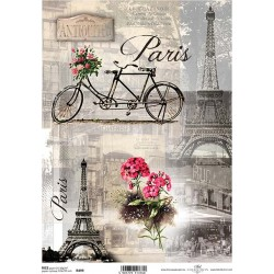 Rýžový papír Eiffelovka, kolo, Paříž a květiny