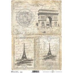 Rýžový papír Eiffelovka, staré písmo a Paříž
