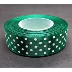 Stuha puntíkatá, zelená, šířka 2,5 cm