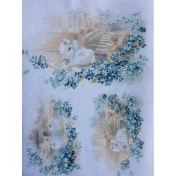 Rýžový papír, Labutě na jezírku s pomněnkami, A4
