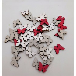 Výřezy, dřevěné, motýlci, sada 3 ks, 1,2 cm x 1,7 cm