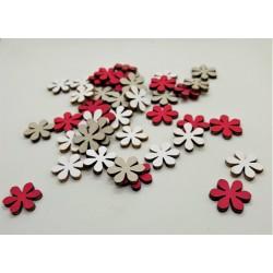 Výřezy z překližky, kytičky, sada 3 ks  růžové, bílé, šedé