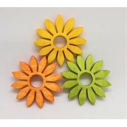 Výřezy z překližky, květiny, sada 3 ks ( oranžová, zelená, žlutá)