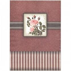 Rýžový papír A4 Vintage růžová růže, vínové pozadí, na krabičku 21x29,7 cm
