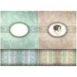 Rýžový papír A4 Dívka v oválku, na krabičku, vintage 21x29,7 cm