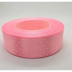 Stuha saténová puntíkatá světle růžová šířka 2,5 cm