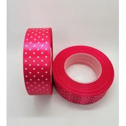 Stuha saténová puntíkatá tmavě růžová šířka 2,5 cm