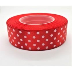 Stuha saténová červená puntíkatá šířka 2,5 cm