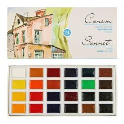 Sada akvarelových barev Sonnet 24 odstínů Nevskaya Palitra