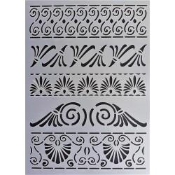 Šablona plastová Řecké ornamenty 1 A5