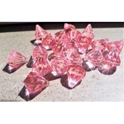 Akrylový diamant růžový na zavěšení průměr 1,6 cm