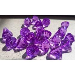 Akrylový diamant fialový na zavěšení průměr 1,6 cm