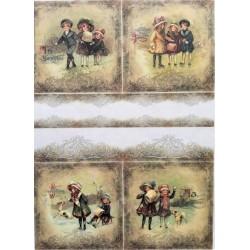 Rýžový papír Děti v kabátcích a pejsek A4