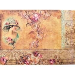 Rýžový papír Dáma s květinami A4