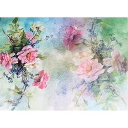 Rýžový papír Růže na zelinkavém pozadí A4