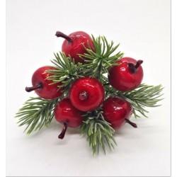 Jablíčka červená s jehličím na drátku svazek 6 kusů