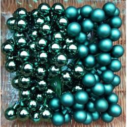 Skleněné kuličky smaragdové lesklé na drátku průměr 2 cm