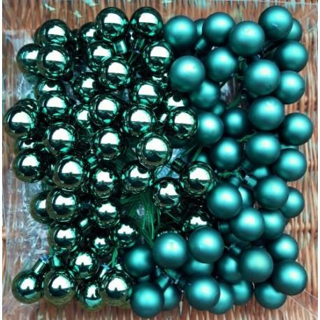 Skleněné kuličky smaragdové lesklé na drátku průměr 2cm