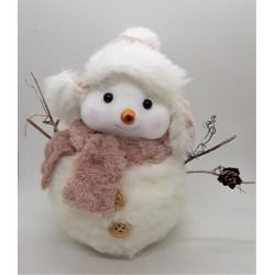 Sněhuláček s růžovou šálou na podstavci 14 cm x 9 cm