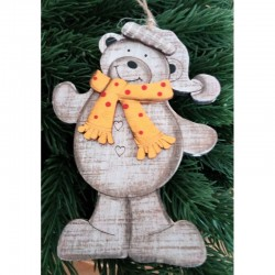 Medvídek výřez na zavěšení s oranžovou šálou