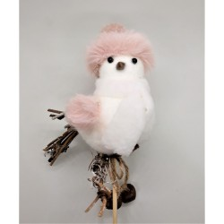 Ptáček zápich s růžovou čepičkou a šálou