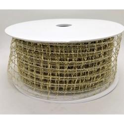 Stuha dekorační zlatá mřížka s kovovým drátkem š.5 cm