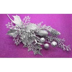 Větvička stříbrná dekorační 26 cm