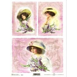 Rýžový papír Dámy v kloboucích na růžovém pozadí A4