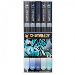 Chameleon tónovací fixy sada 5 kusů modré tóny
