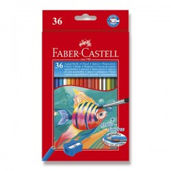 Pastelky akvarelové 36 kusů v kartonové krabičce + štětec Faber Castell