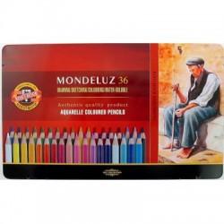 Pastelky akvarelové sada 36 kusů KOH-I-NOOR Mondeluz v kovové kazetě