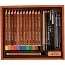 Umělecká souprava akvarelových a skicových pastelek KOH-I-NOOR v dřevěné kazetě