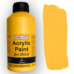 Akrylová umělecká barva Žlutá střední 500 ml Daily ART