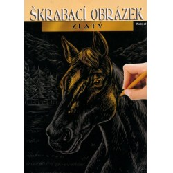 Škrábací obrázek zlatý - koník