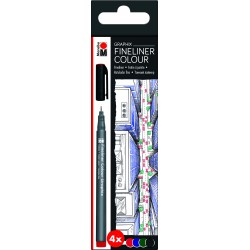 Popisovače barevné sada 4 kusů Fineliner Graphix Marabu