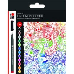 Popisovače Fineliner Graphix 12 kusů Marabu