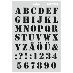 Šablona plastová A4 písmena a číslice