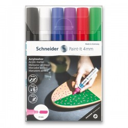 Akrylové popisovače sada 6 kusů 4 mm základní barvy Schneider