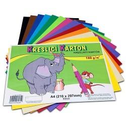 Kreslící karton A4 60 listů barevný mix 180g/m²